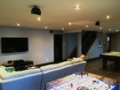 Playroom and home theater area at chalet Ilaali in Charlevoix.