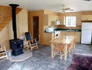 Kitchen, dining room and wood stove