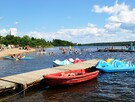 Beach, play area, boat rental at Éco-Parc