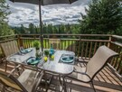 Upper deck overlooking the golf course and amazing mountain views.