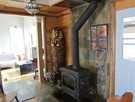 Wood stove with glass