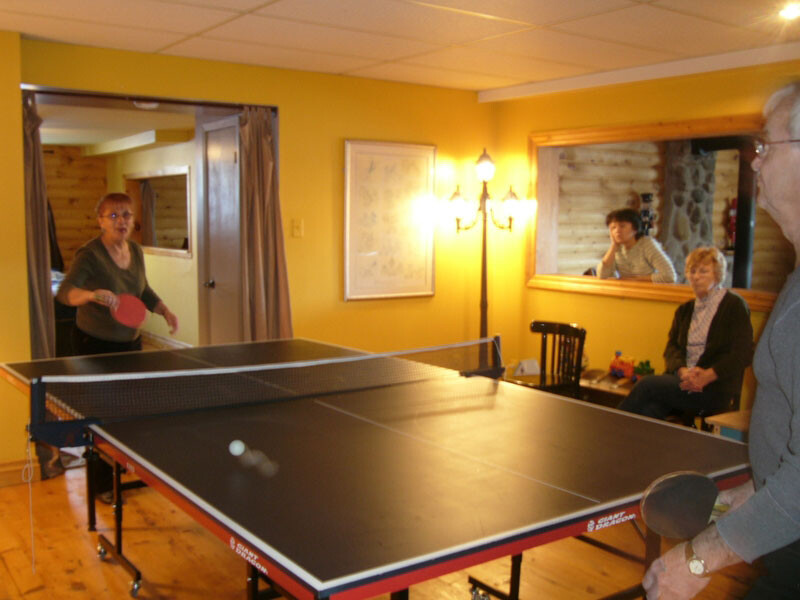 Game room with ping-pong table
