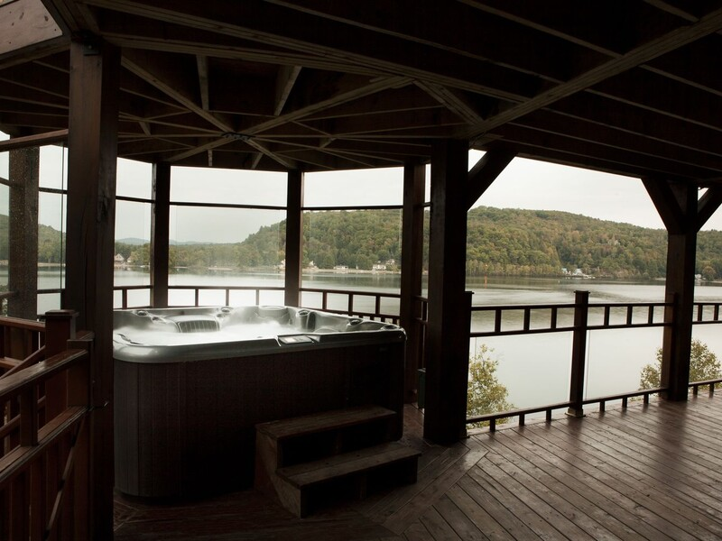Spa with water view